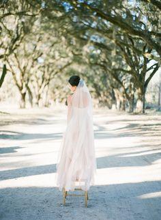 Sarah Seven | Blush Wedding Dress | Savannah, Georgia | Photography by The Happy Bloom Fine Art Photography | www.thehappybloom.com | Savannah Wedding Photographer | Savannah Film Photographer | Styling by Design Studio South | Southern Weddings | Bridal Portrait | Wormsloe