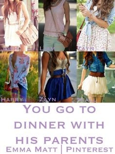 One direction preference - you go to dinner with his parents zayn Niall josh and Harry