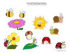 Cut and Paste Bug Garden http://www.kidscanhavefun.com/cut-paste-activities.htm #kidsactivities #worksheets