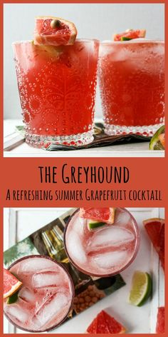 Greyhound Drink- Grapefruit Vodka Cocktail This delicious, refreshing summer cocktail made with fresh grapefruit juice is perfect for patio time and entertaining. Easy Alcoholic Drinks, Drinks Alcohol Recipes, Fun Drinks, Cocktail Recipes, Party Drinks, Brunch Drinks, Cocktail Drinks, Thanksgiving Sangria, Refreshing Summer Cocktails