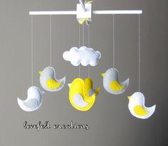 Baby Crib Mobile  Yellow and Gray Bird Mobile