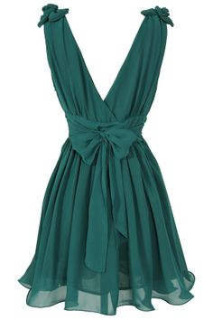 Emerald bow back dress