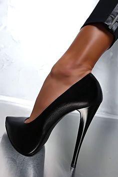 1969 LEDER HOHE Plateau Classic Sexy High Heels A54 Pumps Schuhe Leather Schwarz #highheelspumps