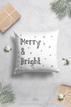 Christmas throw pillow, kids cushion, Scandinavian cushion, kids pillow, black and white cushion, childrens cushion, Scandinavian decor by OttoandPixelsDesign on Etsy