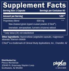 Plexus Fast Relief/Ease capsules. Notice the bromelain for inflammation & indigestion & turmeric contains more than 2 dozen anti-inflammatory compounds along with New Zealand mussel/ETArol known for its anti-inflammatory, pain relief and tissue regeneration abilities.