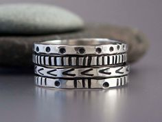 Graphic Patterned Sterling Silver Stacking Ring, the bottom two