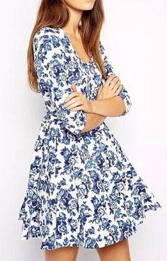 Blue Floral Print Vintage Dress