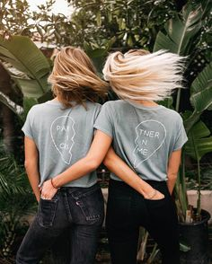 our partner in crime tees have officially hit the site link in bio Best Friend Matching Shirts, Best Friend T Shirts, Best Friend Outfits, Best Friend Pictures, Friends Shirts, Best Friend Clothes, Bff Shirts, Cute Shirts, Bff Goals