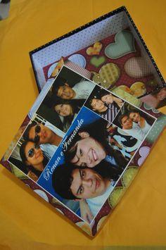 Decoupagem com fotos na caixa de MDF