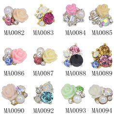 10Pc/Lot Bridal Wedding Nail Jewelry Elegant 3D Flower Nail Art Glitter Rhinestone Nail Charm Gem Women DIY Material Supply