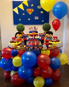 """Sometimes the only place you can put balloons is under neath the table. So I made it happen. I don't even know what to call this other than """"A Balloon Master Piece Under the Table"""" I hope little Nick has an amazing birthday party celebration tomorrow! Superman Birthday Party, Avengers Birthday, Baby Boy 1st Birthday, Superhero Party, First Birthday Parties, Birthday Party Decorations, First Birthdays, Batman Party, Table Decorations"""