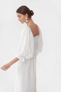 """Atlanta"" Linen Dress in Pink Vichy – Sleeper White Silk, Pearl White, Wedding Wear, Silk Dress, Atlanta, Fashion Dresses, White Dress, Fancy, My Style"