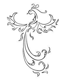 Amazing Outline Tribal Phoenix Tattoo Design