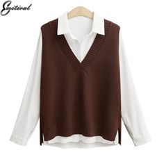Fashion Style Baby Penguin Embroidery Cute Preppy Style School Uniform V-neck Sweater Japanese Jk Long Sleeve Cardigan Sleeveless Vest Cotton Handsome Appearance Sweaters Cardigans