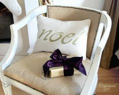 Simple Seasonal Pillow - You can use this same technique to create pillows with your child's name, the date you were married, or any sentimental word!