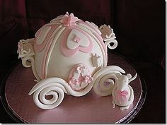 Cinderella Carriage Cake, like the wheels on this one Cupcakes, Cupcake Cakes, Carriage Cake, Fantasy Cake, Small Wedding Cakes, Cake Shapes, Girl Cakes, Fancy Cakes, Cake Decorating Techniques