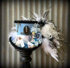 Alice In Wonderland Hat, Mini Top Hat, Alice Diorama Tea Hat, Mad Hatter Hat, Mad Tea Party, STeampunk Rabbit Hat, Blue Tea hatWonderland A1