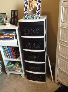 A set of plastic drawers is a must for the dorm!  I had a set of three to double as a night stand. This is a really cute idea to make give them a facelift! Chalk paint makeover for plastic drawers