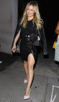 Hilary Duff turns heads in thigh-high split skirt. Get more Hilary Duff style inspiration on the latest episodes of Younger at http://www.tvland.com/shows/younger.