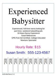 Simple Tear Off Flyer Design Babysitting Flyer Template