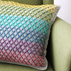 The anchor pillow uses a novel technique in overlay crochet to create a neat mesh of stitches on your crochet. The pattern is written in US and NL terms. Toys Patterns dutch Brand new crochet pattern: the Anchor pillow - haakmaarraak. Crochet Pillow Pattern, Crochet Cushions, Crochet Diagram, Crochet Stitches Patterns, Stitch Patterns, Knitting Patterns, Pillow Patterns, Afghan Patterns, Free Knitting