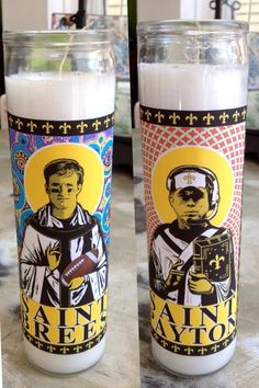 "Fleurty Girl - Everything New Orleans - ""Saint"" Prayer Candle, $16. We post these on our Facebook page every game day, and they haven't lost yet! #saints #football"