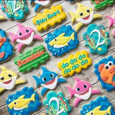 These cookies are adorable. You can buy them made or make your own. Either way, they are a great addition to a baby shark party. Shark Birthday Cakes, 1st Birthday Themes, Second Birthday Ideas, Baby Boy First Birthday, Boy Birthday Parties, 2nd Birthday, Birthday Cookies, Shark Cookies, Shark Party