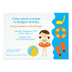 Girls Pool Party Birthday Invitation