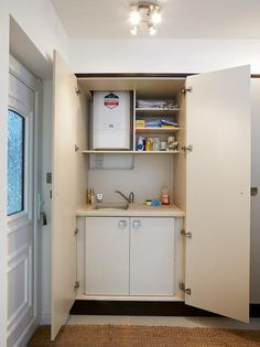Hide any unwanted visuals behind cupboards and create that little bit of extra storage!