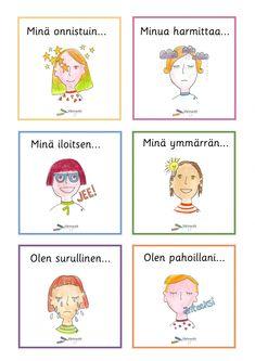 Tunnetaidot - Värinautit Mindfulness, Teaching, Activities, Comics, School, Adhd, Ideas, Finland, Education