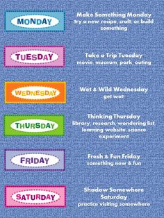 Super Summer Schedule---been doing make it Monday for a while and the kids love it! This will be great for the rest of the week!