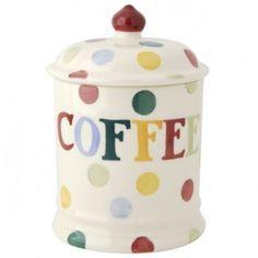 Emma Bridgewater Polka Dot Coffee Storage Jar ($39) ❤ liked on Polyvore featuring home, kitchen & dining, food storage containers, coffee storage jar and emma bridgewater