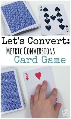 This metric conversions game is super simple: all you need is a deck of cards! Practice conversions, operations with powers of ten, plus mental math skills. Measurement Activities, Math Measurement, Math Activities, Math Resources, Metric System Conversion, Math Conversions, Easy Math Games, Math Card Games, Simple Math