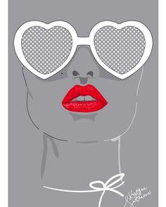 Kiss my lips 💋  redlips, kissmylips, sunglases, love shape. Illustration by Krissmet