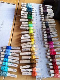 Loret Karman, color card in progress...great idea for fair isle...