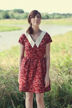 *Only available in solid colors*    Set sail in this vintage inspired dress. A lovely sailboat print with a stunning pointed collar in a V-shaped neckline.   -Fitted waist  -Full skirt  -Zipper in back    Designed and handmade by Abi Porter, in the pacific northwest.     Please include your bust ...