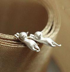 Super Cat Stud Earrings - 925 Sterling Silver