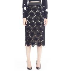 Dolce&Gabbana Macrame Lace Skirt ($1,995) ❤ liked on Polyvore featuring skirts, black, cotton skirt, black knee length skirt, black pencil skirt, dolce&gabbana and black knee length pencil skirt