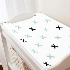 Mint and Onyx Brush X Changing Pad Cover made with care in the USA by Carousel Designs. Mint Nursery, Carousel Designs, Changing Pad, Cover, Home Decor, Decoration Home, Room Decor, Home Interior Design, Home Decoration