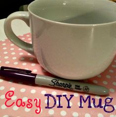 All you need is a mug, sharpies and an oven, (yep that's it). Make sure your mug is clean and dry before you begin. Simply draw your design onto your mug and place in a 350 degree oven for 30 minutes. Let cool completely.