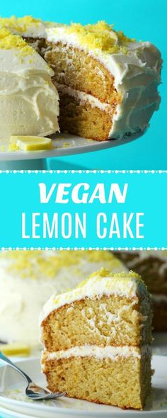 Ultra-lemony 2-layer vegan lemon cake with a velvety lemon buttercream frosting! This delicious vegan cake is perfectly moist and spongey and will make all your lemon cake dreams come true! | lovingitvegan.com