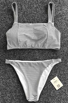 49dac67f83322 Do it all while looking effortless in the Cupshe Stripe Built Me Up Tank Bikini  Set. Product Code  Details  With padding bra Tank top Stripe pattern Fabr