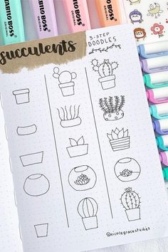 25 Best Succulent & Cactus Doodle Ideas For Bujo Addicts - Crazy Laura - 20 Creative step by step cactus and succulent doodle ideas for your bullet journal - Bullet Journal Easy, Bullet Journal Notebook, Bullet Journal Aesthetic, Bullet Journal Ideas Pages, Bullet Journal Layout, Bujo Doodles, Planner Doodles, Doodle Art For Beginners, Easy Doodle Art