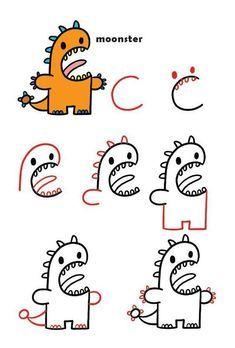 Draw Kawaii Fantasy Creatures Using Letters and Numbers – Shop Harptoons easy drawings Draw Kawaii Fantasy Creatures Using Letters and Numbers Drawing Tutorials For Kids, Easy Drawings For Kids, Drawing For Kids, Art For Kids, Drawing Ideas, Drawing Tips, Easy Drawing Steps, Easy Cartoon Drawings, Kawaii Drawings