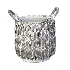 'AGIELLA' collection small grey bamboo lantern in cement by Lene Bjerre