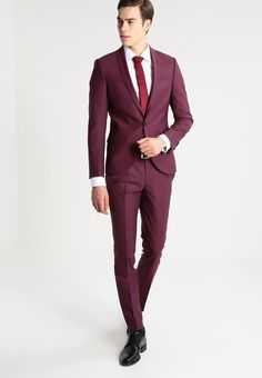 Noose & Monkey ELLROY SKINNY FIT - Vestito elegante - burgundy - Zalando.it