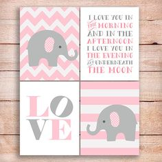 Elephant pink and gray Nursery art Elephants pink nursery, set of 4, i love you in the morning...