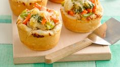 These individual-sized chicken pot pies are easy to throw together for a quick dinner.