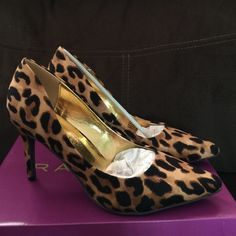 Rampage Selena Leopard Pump Pumps for special occasions and office hours alike! True to size. Pointed toe. 3.75 in heel. Manmade upper and sole. Rampage Shoes Heels