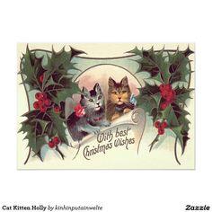 Cat Kitten Holly 5x7 Paper Invitation Card